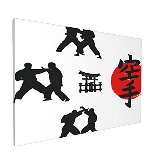 PATINISA Canvas Print Modern Wall Art HD Quality Picture,Hieroglyph Of Karate And Men Demonstrating Karate,Beautiful Living Room & Bedroom Art 12x18inch