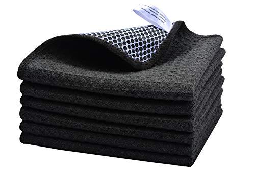 KinHwa Microfaser Geschirrtücher Extrem Saugstark Und Weich Spültuch Geschirrtucher Mit Poly Gitter Scrubbe Microfasertücher Für Küchen 30cmx30cm 6 Stück schwarz