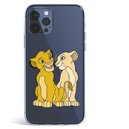 Funda para iPhone 12 Pro MAX Oficial de El Rey León Simba y Nala Silueta para Proteger tu móvil. Carcasa para Apple de Silicona Flexible con Licencia Oficial de Disney.
