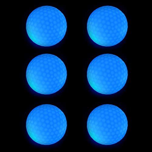 Pelotas Golf Luminosas, 6 Piezas Pelotas Práctica Golf, Luces Golf LED, Pelotas Golf Luminosas LED Electrónicas para Entrenamiento Nocturno con Tiros Largo y Largo Alcance