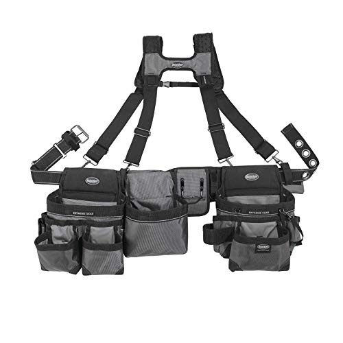 Bucket Boss Mullet Buster 3 Bag Tool Belt with Suspenders in Grey, 55135, Black, full size