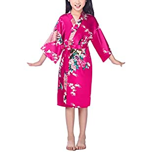xingyueshop Children Girls Silk Robes Satin Robe Short Floral Peacock Japan Kimono Stain Sleepwear Rose 6:Ukcustomizer