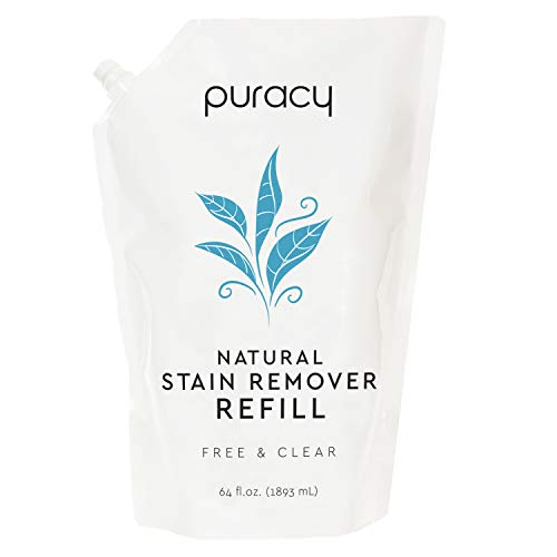 Puracy Natural Laundry Stain Remover Refill, Enzyme-Based Spot & Odor Cleaner, Fragrance Free, 64 Ounce