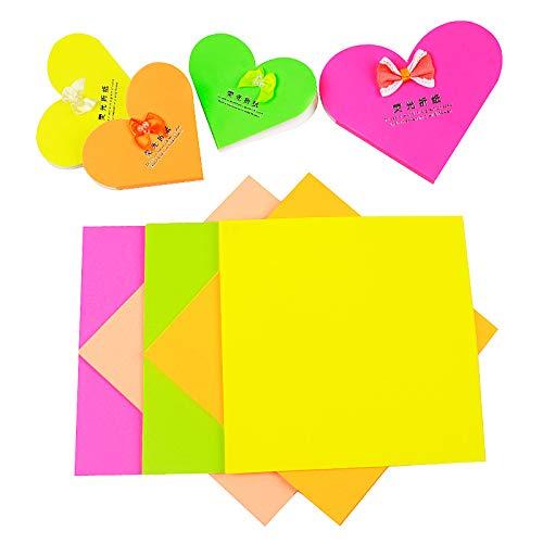 Papel de origami fluorescente, 5 colores, 100 hojas de papel brillante plegado, papel fluorescente para niños, hecho a mano, para álbumes de recortes, 12 x 12 cm