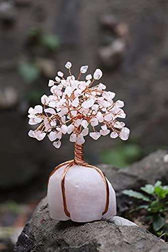 FASHIONZAADI Rose Quartz Gemstone Tree Rose Quartz Quartz Crystal Base Money Tree For Feng Shui Bonsai Ornaments Good Luck Charm Best Home Decor Spiritual Gift Size :- 5.5-6 Inch Golden Wire