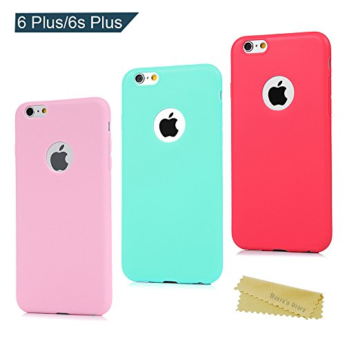3x Funda iPhone 6 Plus/iPhone 6s Plus 5.5 Pulgada, Carcasa Silicona Gel iPhone 6s Plus Mate Case Ultra Delgado TPU Goma Flexible Cover Protectora para Color Rosa+Verde menta+Roja