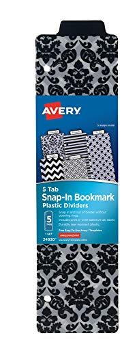 AVERY Snap-in Plastic Bookmark Dividers, 5 Assorted Color Tabs, White Labels,1 Set (24930)