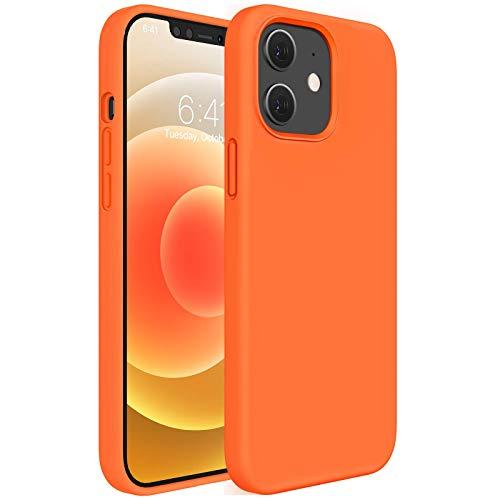 Miracase flüssige Silikon Hülle kompatibel mit iPhone 12 Hülle und Kompatibel mit iPhone 12 Pro Hülle, 3 Schichte Handyhülle 6.1 Zoll, unterstützt Kabelloses Laden (Orange)