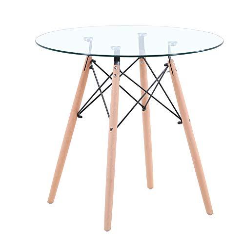 GOLDFAN Tavolo da Pranzo Rotondo in Vetro Tavolino in Legno con Gambe con Base in Metallo per Sala...