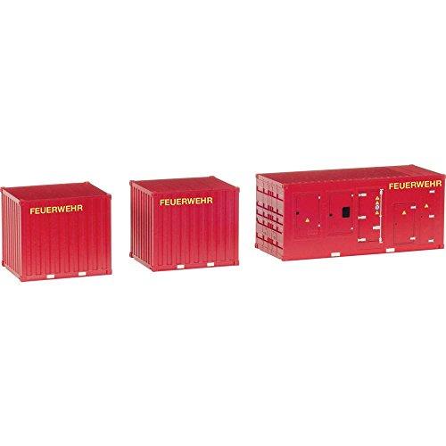 Herpa 076807 Zubehör 1 x Stromaggregat und 2 x 10 Fuß Container Feuerwehr