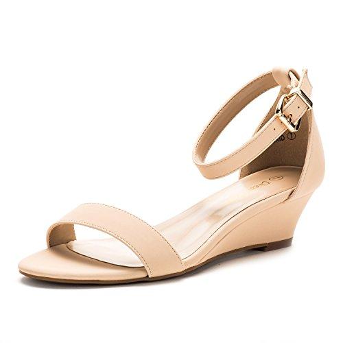 DREAM PAIRS Women's Ingrid Nude Nubuck Ankle Strap Low Wedge Sandals - 7.5 M US