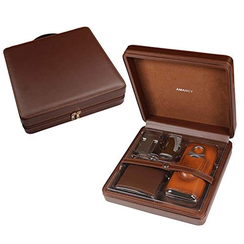 AMANCY Top Handcrafted Travel Leather Cigar Humidor Case Flask Combo,5-Pieces Cigar Accessory Gift Set Included Cutter,Lighter and Stand