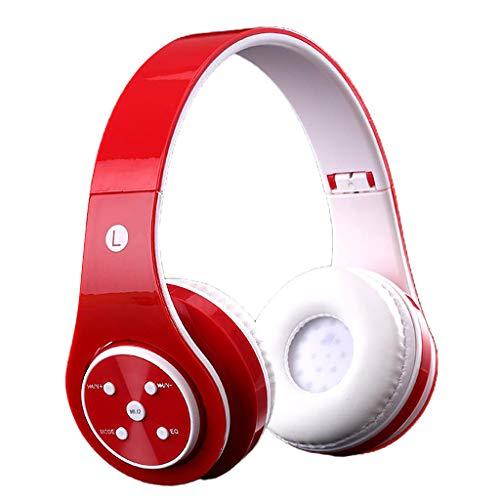 Baoblaze ST6 inalámbrico/con Cable 3,5mm Aux Bluetooth niños Auriculares Volumen Limitado Uso de Adolescentes - Rojo