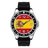 Timest - Bandera de España - Reloj Unisex con Correa de Silicona Negro Analógico Cuarzo SE0533SB