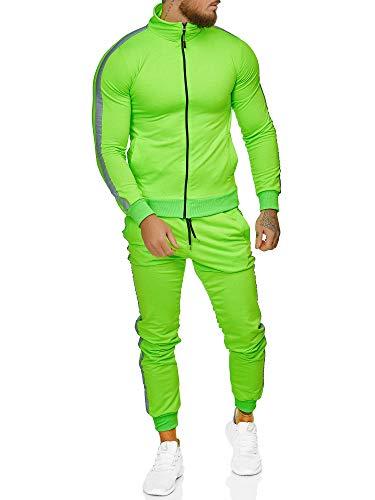 OneRedox | Herren Trainingsanzug | Jogginganzug | Sportanzug | Jogging Anzug | Hoodie-Sporthose | Jogging-Anzug | Trainings-Anzug | Jogging-Hose | Modell JG-1068 Neon-Grün M