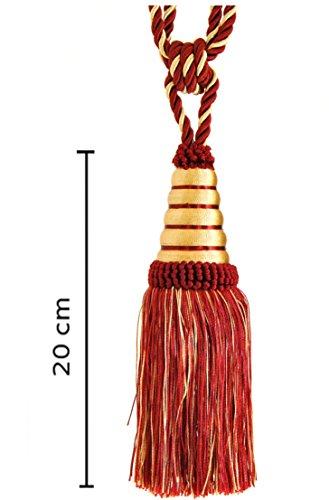 Mosel Avenue Art & Gobelin Studio Raffhalter Quaste 20 cm mit Kordel 60 cm/Dunkelweinrot Rot & Gold Gardinenhalter Quaste Raffhalter Halter für Gardinen Jugendstil