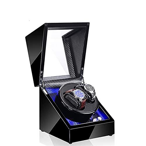 HEZHANG Watch Box Reloj de Madera de Gama Alta Winder 5 Modos 2 Asientos Azul Atmósfera Lámpara Reloj Automático Winders con Función de Parada de Abrigo,B