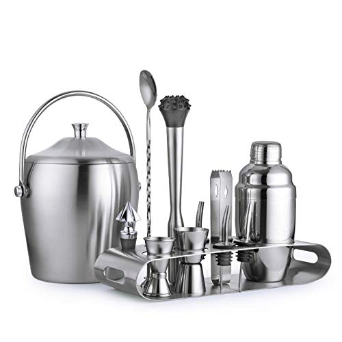 Yinaa Cocktail Shaker Kit 12 Stuks RVS Dik Opslag Rack Professionele Cocktail Mixer Kit 350ML
