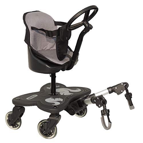 Eichhorn Cozy C-Rider Geschwisterboard mit Sitz und Spiel-Lenkrad für Kinder ab 15 Monaten bis 25 kg (4 Räder mit Sitz)