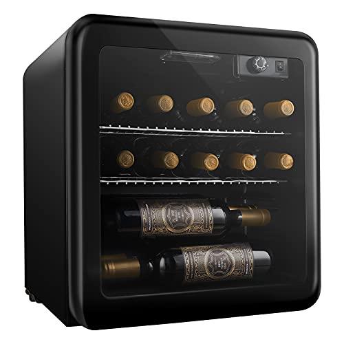 Vinoteca 16 Botellas, Nevera para Vinos, 46L, Botellero Vino Frigorifico con Puerta de Cristal, 4-16℃ Nevera Vinos con Estantes Extraíbles, Vinotecas Pequeñas, Negro
