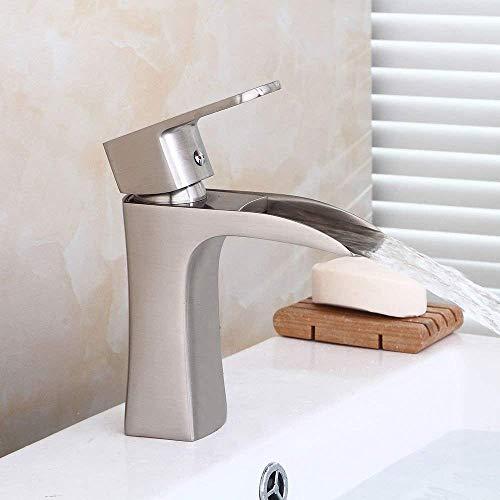 DJY-JY Baño fregadero lavabo grifo mezclador cascada cepillado agua caliente y fría 1 agujero lavabo grifo baño bar grifo cocina
