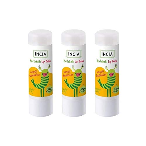 INCIA Kids Moisturising Natural Orange Lip Balm with Shea Butter 3 x 6g