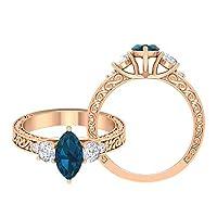 12月誕生石-5X10mm ビンテージ風マーキーズカットロンドンブルートパーズとモアッサナイト三石婚約指輪, 14K ローズゴールド, Size: 10