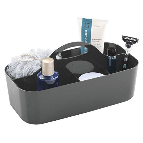 mDesign Duschkorb mit 6 Fächern – tragbarer Aufbewahrungskorb aus Kunststoff für Badaccessoires – Duschablage für Duschgel, Shampoo, Rasierer und Co. – anthrazitgrau