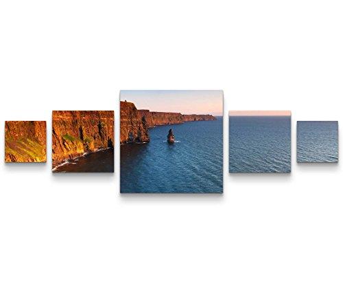 Picarto Leinwandbild 5 teilig (160x50cm) Cliffs of Moher - Sonnenuntergangsstimmung