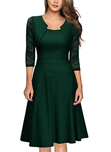 MIUSOL Damen Abendkleid Elegant Cocktailkleid Vintage Kleider 3/4 Arm mit Spitzen Knielang Party Kleid Grün L