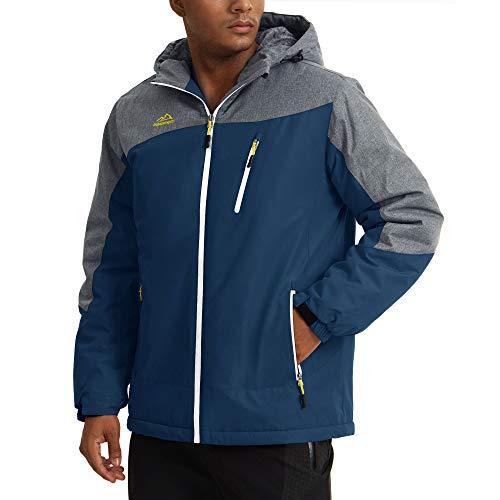 KEFITEVD Calda giacca invernale da uomo in pile impermeabile con cappuccio, giacca da sci e giacca...