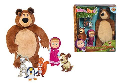 Simba - Masha et Michka - Masha 12cm Michka et Animaux - Mini Poupée + Peluche - Figurines d'Animaux - 109301073