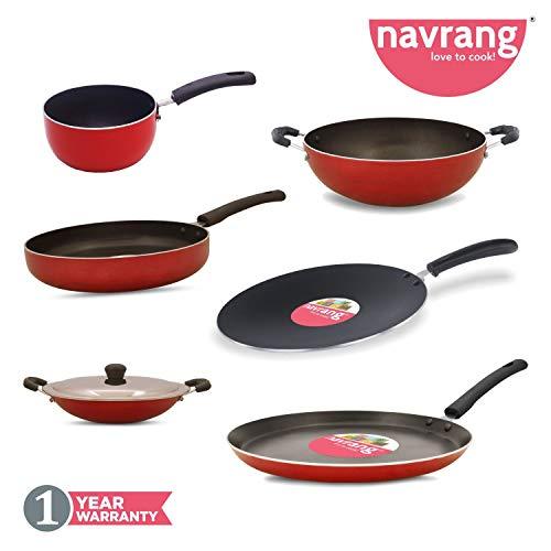 NAVRANG Non Stick Aluminium 6 Pcs Cookware Set