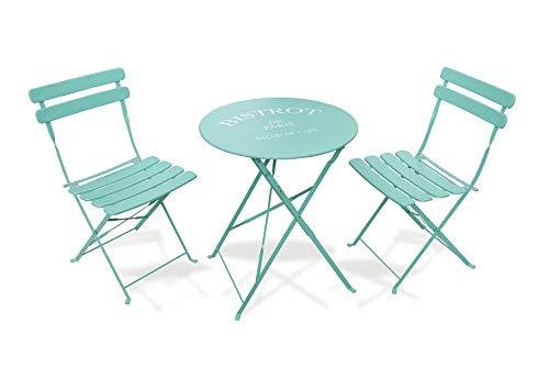 Galileo Casa - Juego de mesa y dos sillas, aguamarina