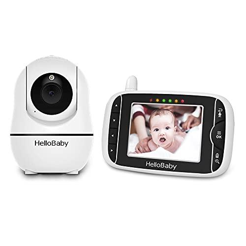 HelloBaby HB66 Monitor de vídeo para bebé con 2 cámaras remotas con zoom panorámico y pantalla LCD de 3,2 pulgadas, visión nocturna por infrarrojos