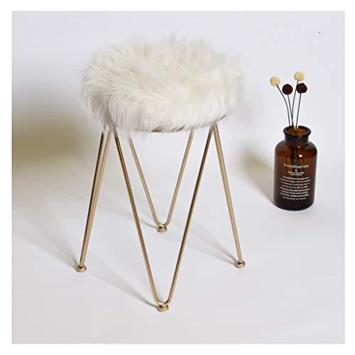 XIAOLVSHANGHANG HHCS Tabouret de Maquillage Nordique Moderne Mode Minimaliste Blanc Tabouret de Coiffeur Poilu Style européen Tabouret de Maquillage Chaises et tabourets