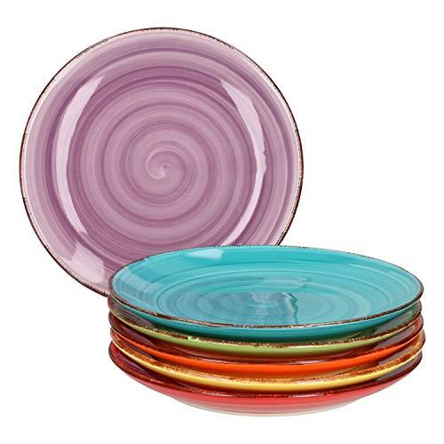 MamboCat 6-TLG. Kuchentellerset Uni bunt Dessertteller Essteller Frühstücks-Buffet Servier-Platte klein Tafel-Zubehör Steingut-Geschirr backofentauglich
