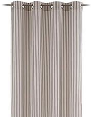 Cortina de Rayas Gris y Blanco de algodón y poliéster de 140x260 cm - LOLAhome