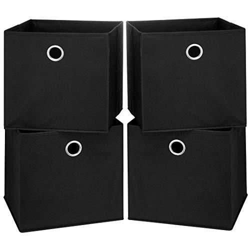 i BKGOO Cajas de almacenamiento plegables con ojales redondos de metal para organizar estanterías, guarderías, armario, 4 unidades, color negro, 28 x 28 x 28 x 28 cm