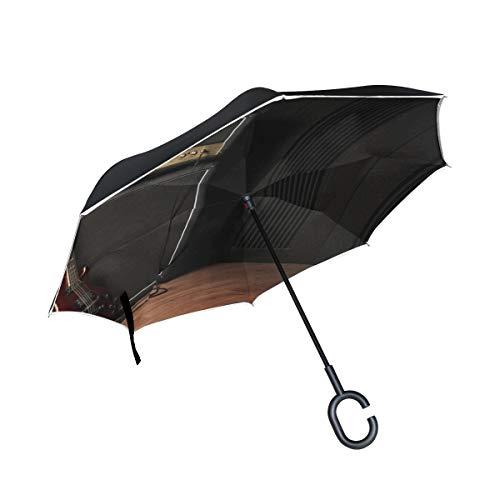 Gitarre Musik Fan Doppelschicht Folding Anti-Uv Schutz Winddicht Regen Gerade Autos Golf Umgekehrte Schirmständer Mit C förmigen Griff