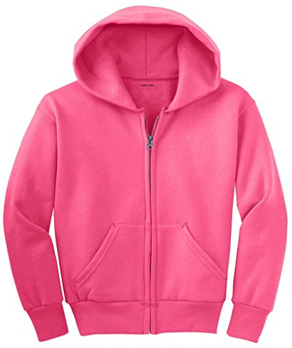 Joe's USA - Youth Full-Zip Hooded Sweatshirt-NeonPink-XS