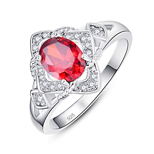 Narica Classic Oval Garnet 925 Plated Sterling Silver Women's Engagement Ring Size 8