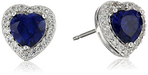 Sterling Silver Created Blue Sapphire and Created White Sapphire Halo Heart Stud Earrings