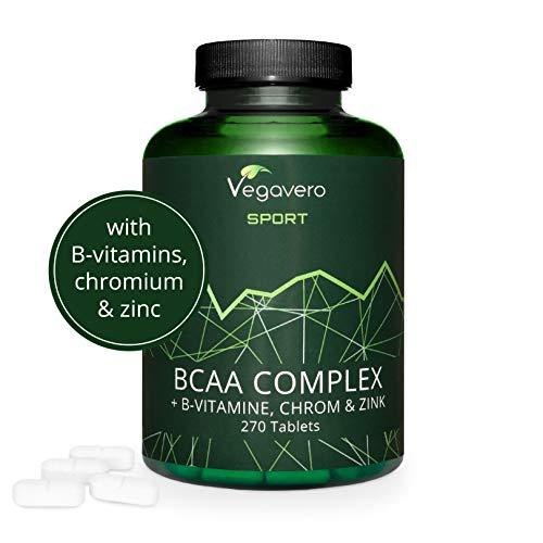 BCAA Comprimés Vegavero Sport®   5000 mg   270 Comprimés   BCAA Vegan avec Vitamines B + Chrome + Zinc   Leucine + Isoleucine + Valine   SANS ADDITIFS   Récupération Musculaire et Endurance