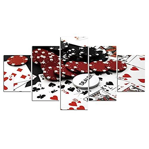 Cuadro Moderno En Lienzo 5 Piezas - Juego De Póquer Con Fichas Digitalizada Impresión Hd Impresión De Imagen Artística Para Tu Salón Dormitorio Decor Diy Marco De Fotos Casero-150X80Cm