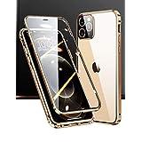 【最新アップグレード版】アイフォン12プロ ケース iPhone12Pro 対応 Uovon スマホケース 両面ガラス アルミバンパー 360 全面保護 カメラレンズ保護 クリアカバー・ゴールデン