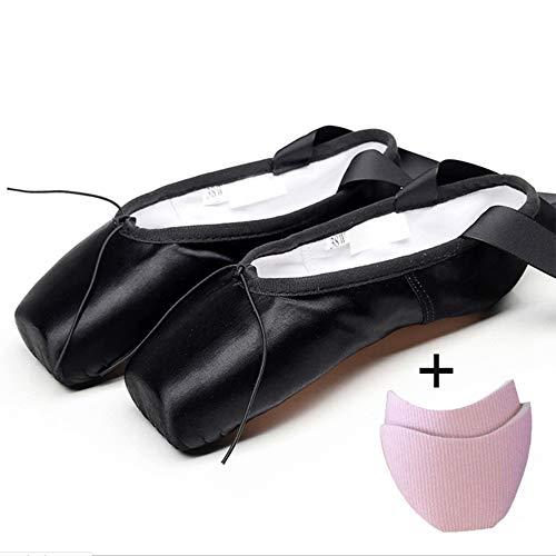 LIGHTOP Zapatillas de Ballet de Punta Zapatos Satén/Lienzo con Puntera de Gel de Silicona/Esponja y Cintas para Niñas (por Favor Seleccione una Talla más Grande)