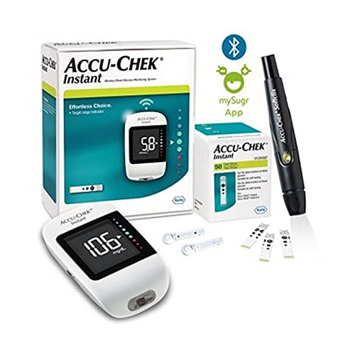 Accu-Chek Instant Blood Glucose Glucometer (with Bluetooth) with Vial of 10 Strips, 10 Lancets and a Lancing Device FREE for Accurate Blood Sugar Testing