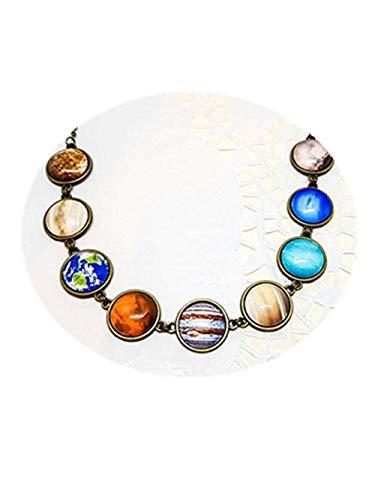 Sonnensystem-Halskette mit Pluto-, Messing- oder Silber-Planeten-Halskette, Weltraum-Schmuck, kosmischer Schmuck, Universum-Halskette, Galaxie-Halskette.