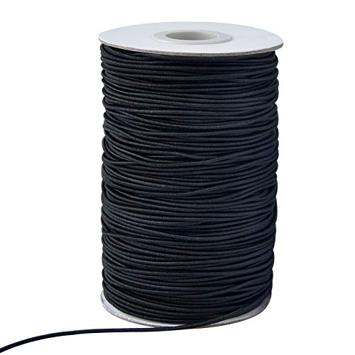 Zealor 100 Yards 2 mm Elastic Cord Stretch String Elastic Beading Cord Craft Thread for Jewelry Making (Black)